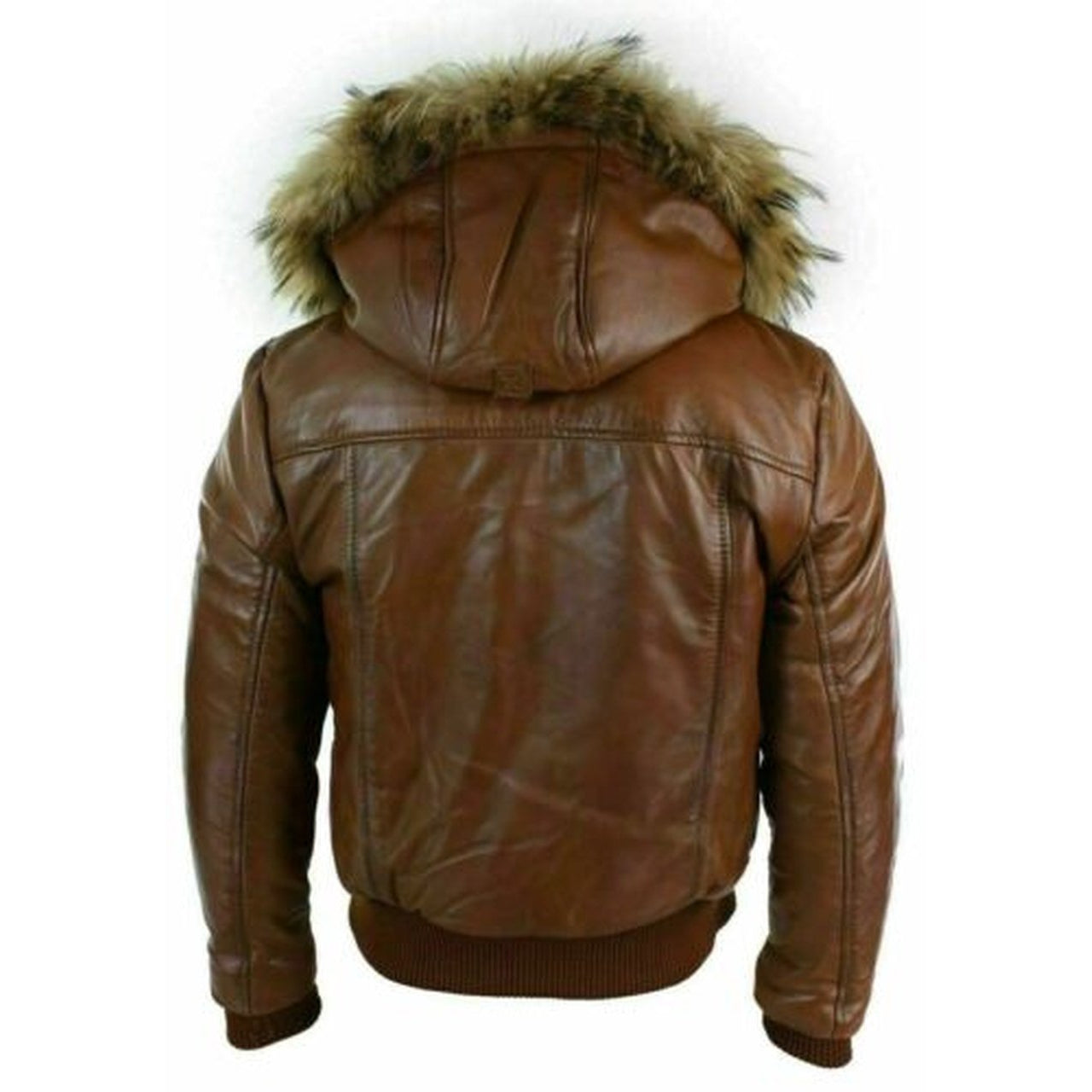 Brown Puffer Bomber Hooded Biker Cafe Racer Real Leather Jacket for Men - Leather Jacket