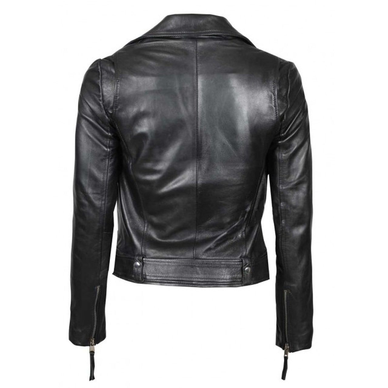 Black Asymmetrical Leather Jacket For Women - Leather Jacket