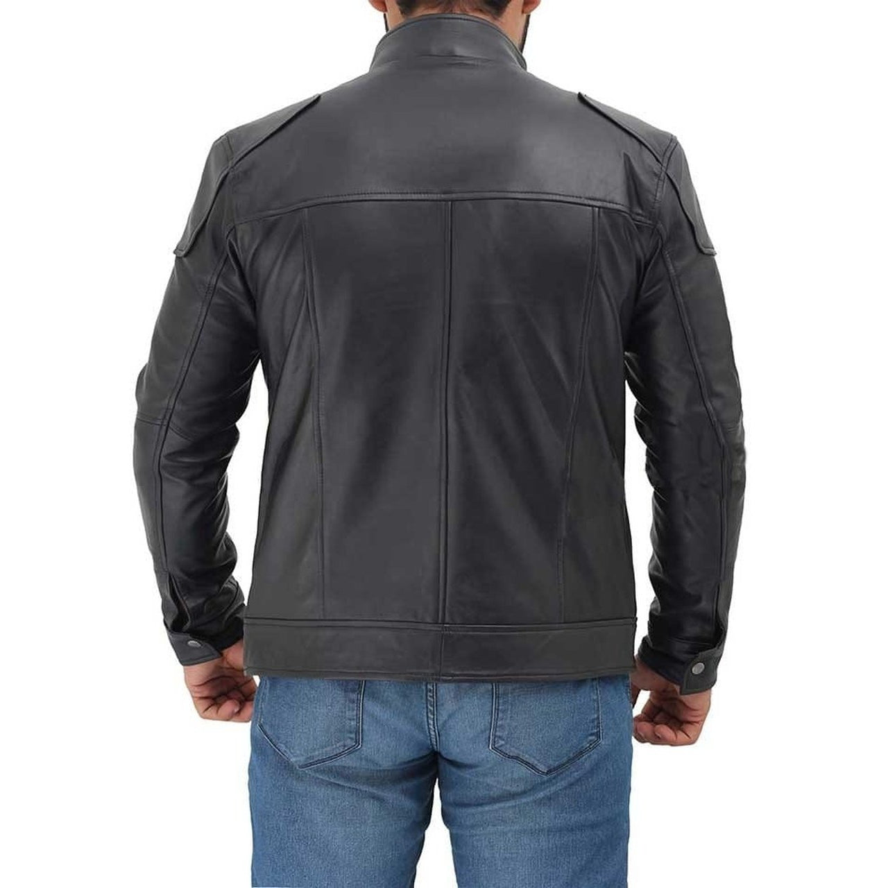 Black Lambskin Leather Motorcycle Jacket Men - Leather Jacket