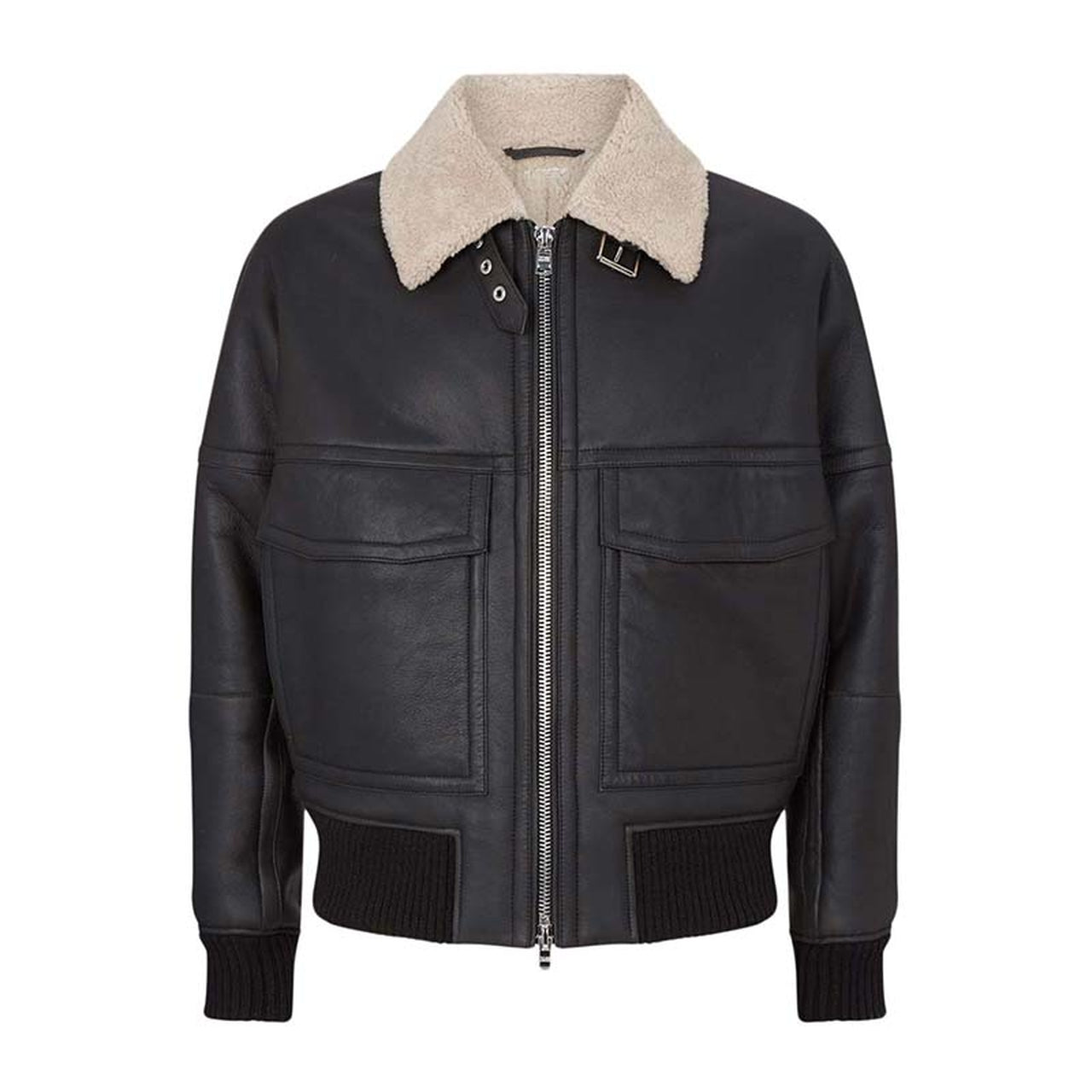 Black Shearling Bomber Leather Jacket for Men - Leather Jacket