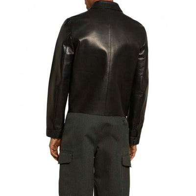 Black Slim Fit Cafe Racer Leather Jacket Men - Leather Jacket