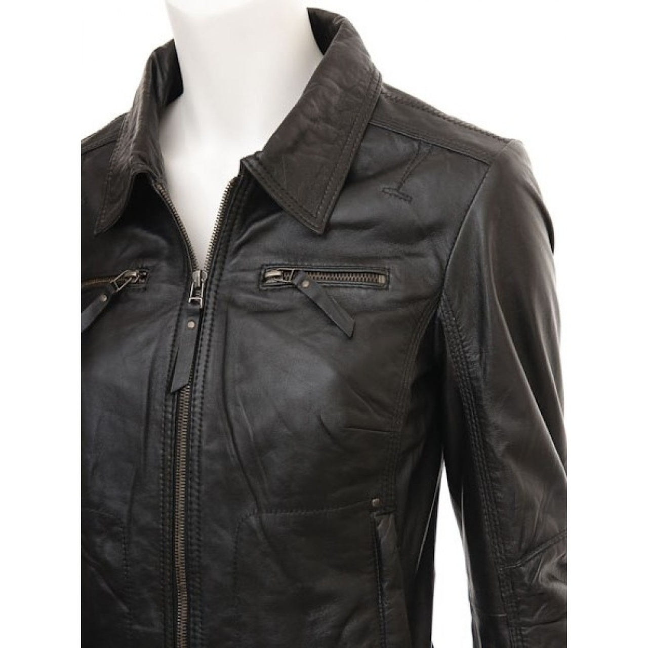 Brown Biker Real Lambskin Leather Jacket - Leather Jacket