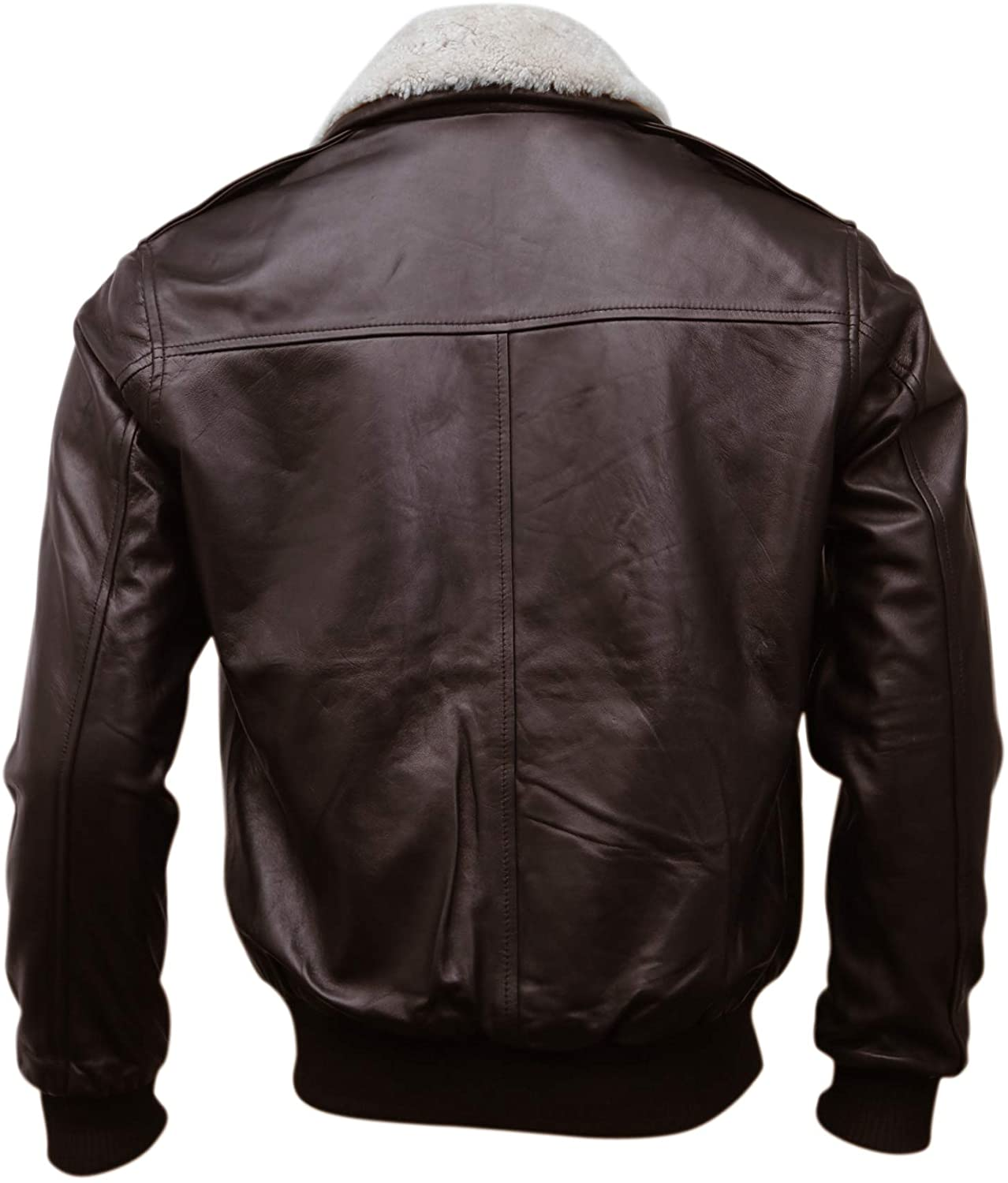Brown Bomber Style Shearling Fur Genuine Sheepskin Leather Jacket