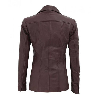 Brown Three Button Closure Leather Blazer for Women - Leather Jacket