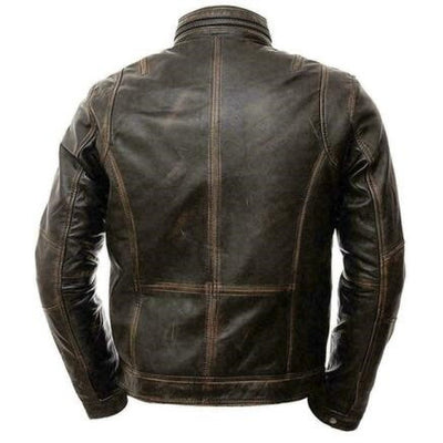 Cafe Race Mens Leather Jacket Distressed Seven Pockets Brown Real Sheep Skin - Leather Jacket