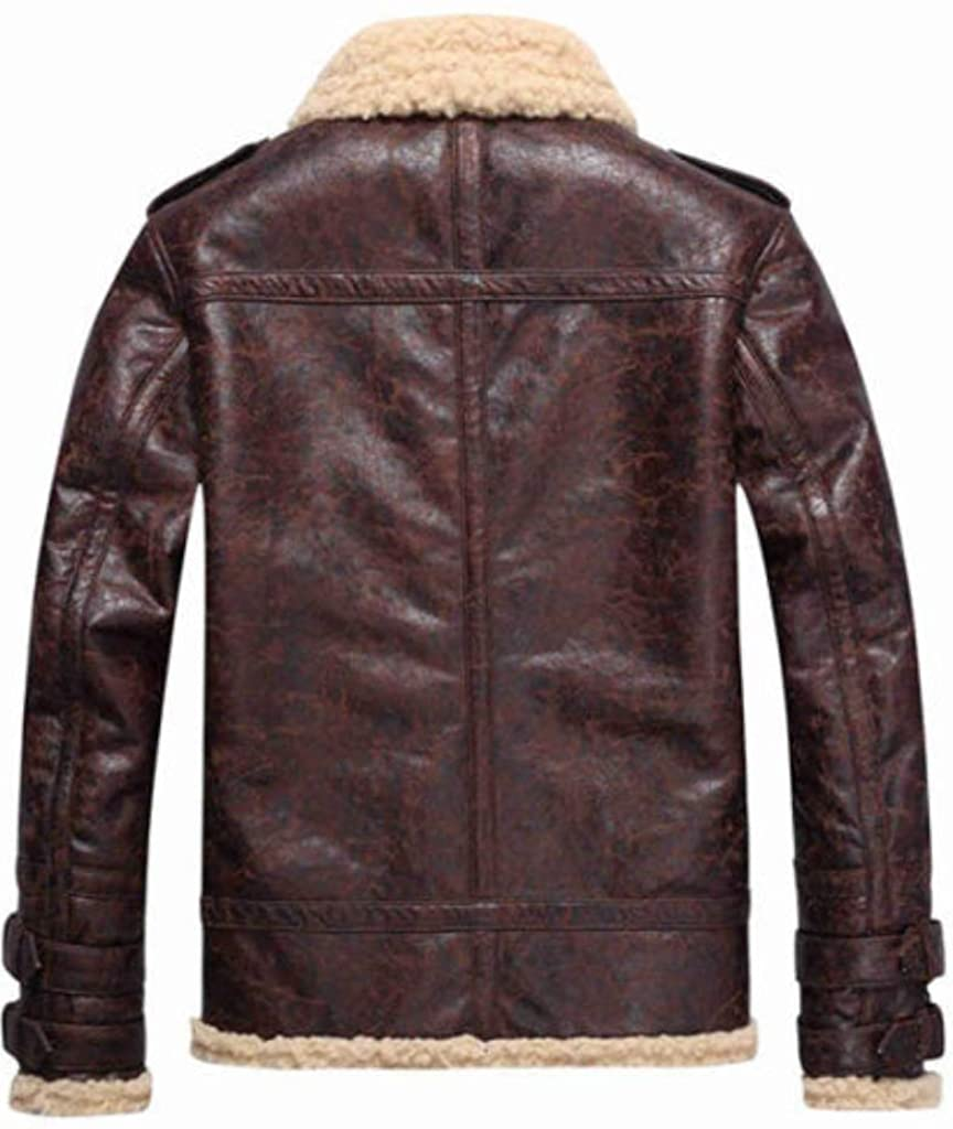 Classic Brown Shearling Fur Genuine Lambskin Leather Jacket For Men