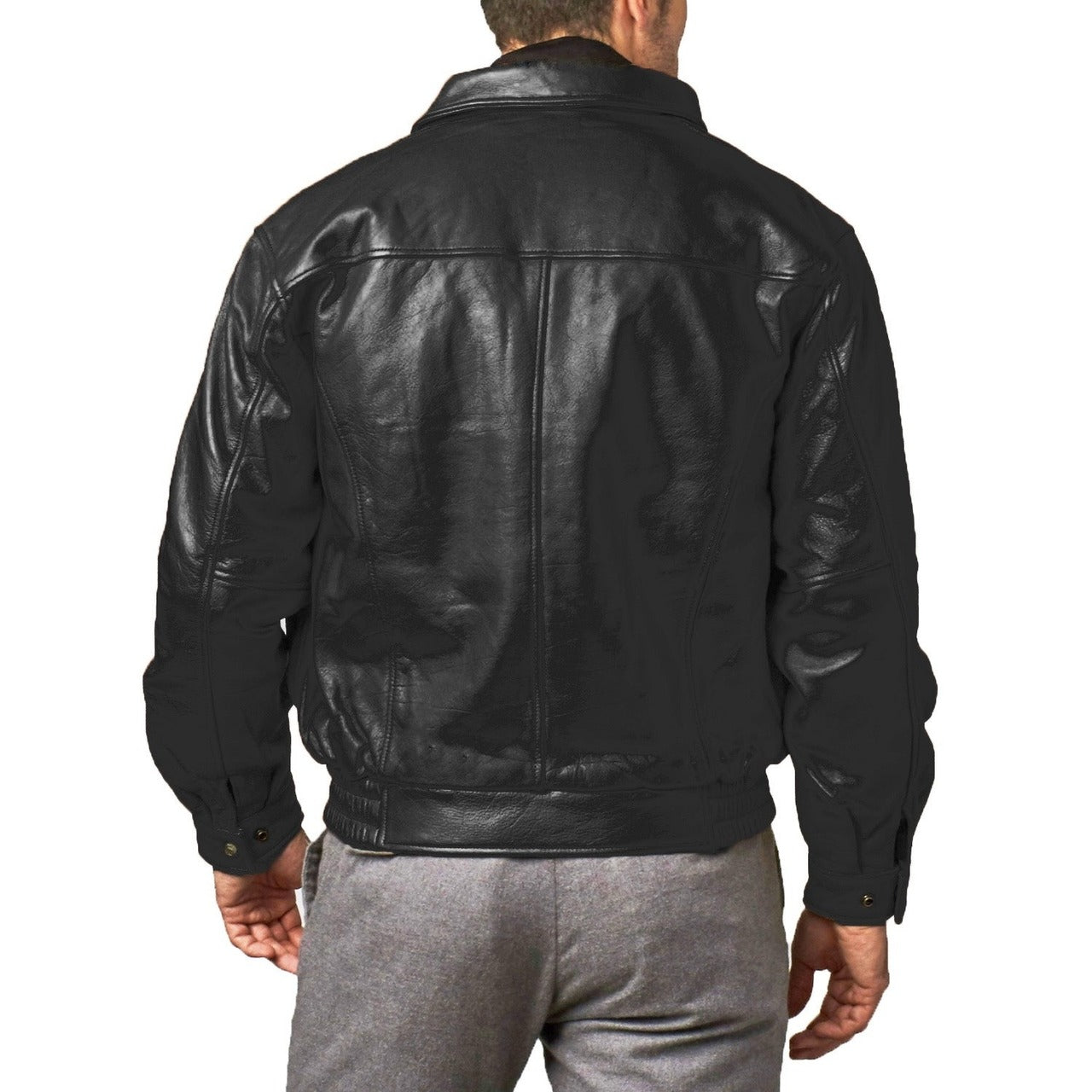 Classic Design Genuine Sheep Leather Jacket Black For Men