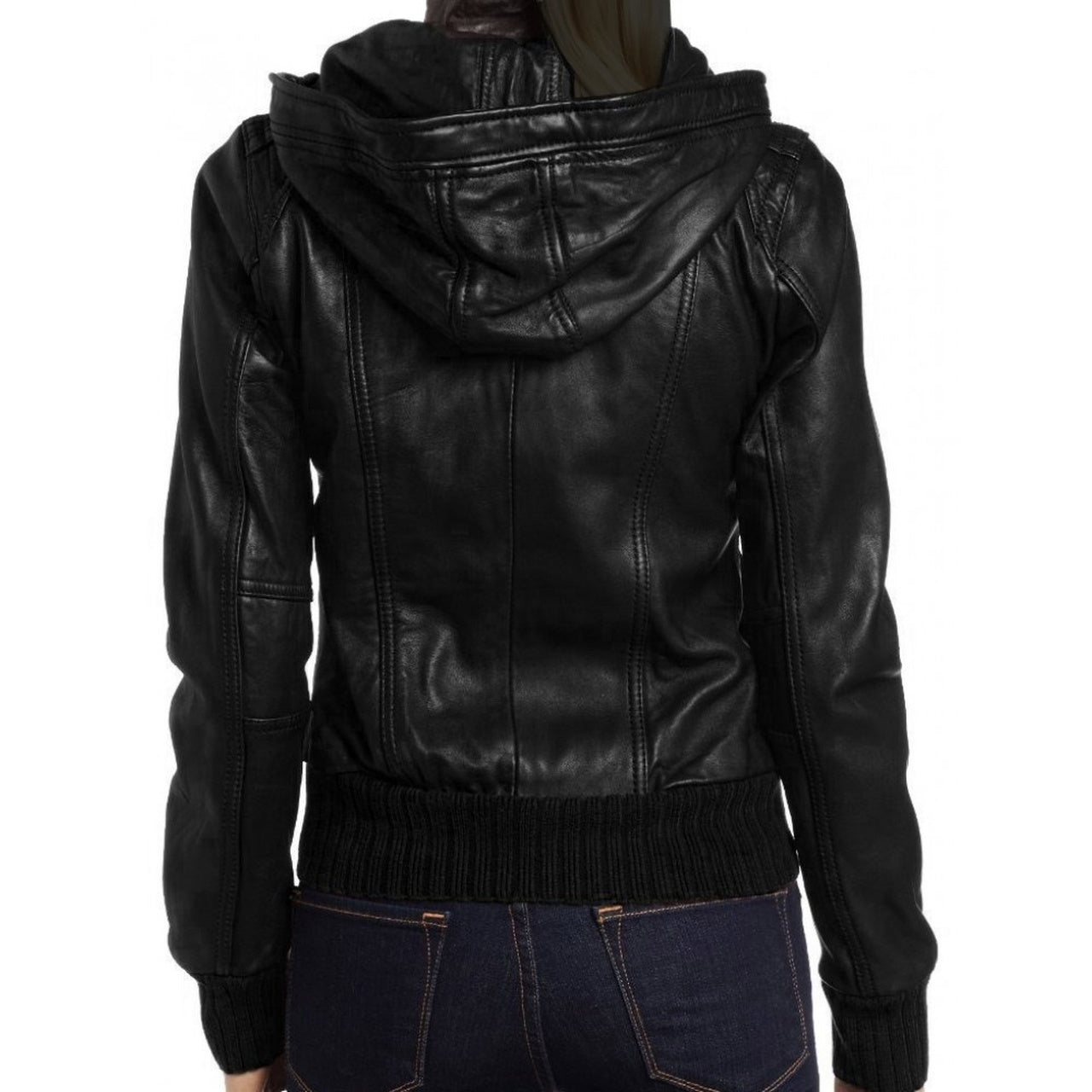 Detachable Hooded Real Leather Jacket for Women - Leather Jacket