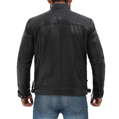 Diamond Classic Black Cafe Racer Biker leather Jacket - Leather Jacket