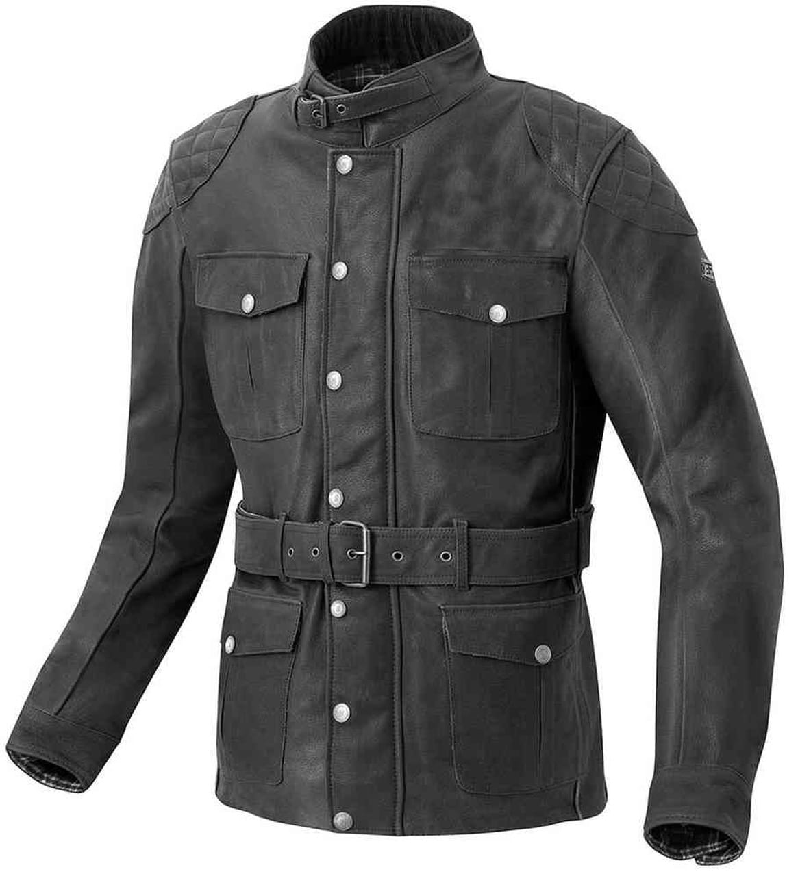 Geniune Jeather Jacket With Belt Style And Upper Pocket For Men In Black