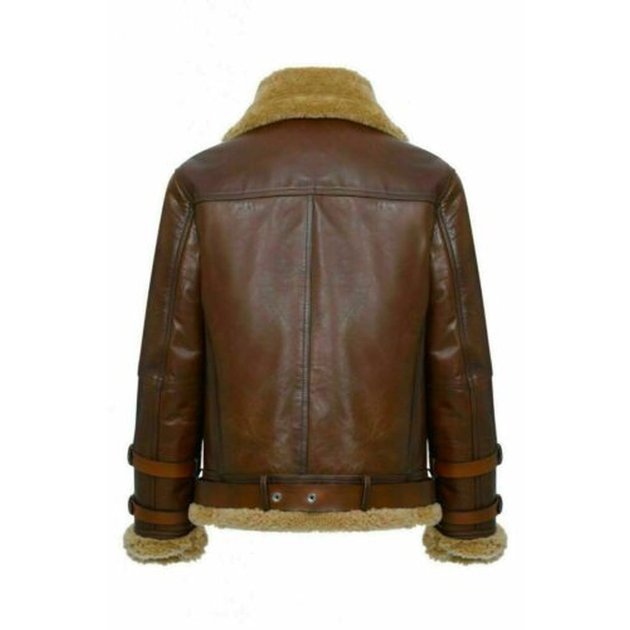 Mens Brown Pilot Aviator Fur Shearling Genuine sheepskin Bomber leather jacket