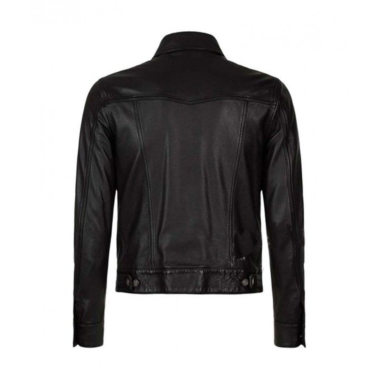 Button Up Black Leather Mens Jacket - Leather Jacket