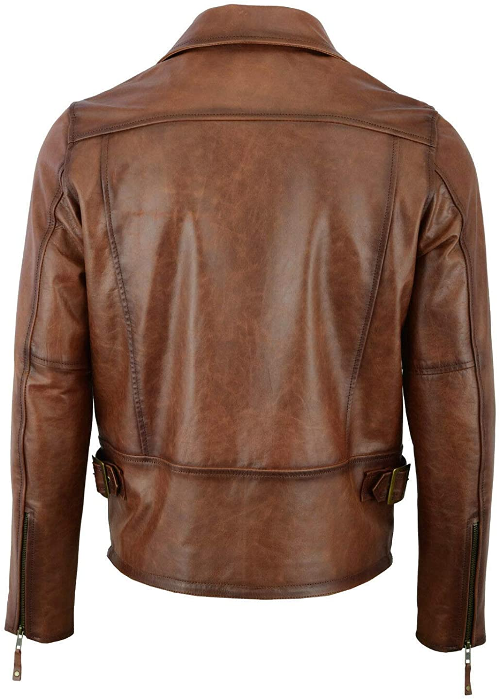 Men Clacssic Stylish Zip Geniune Sheepskin Lether Jacket In Brown