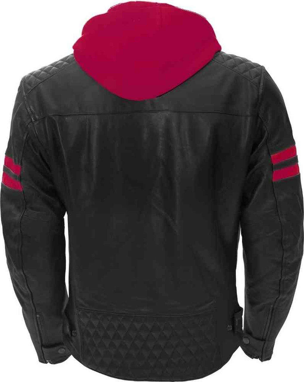 Men Genuine Leather Jacket In Hoddie With Red Stripes