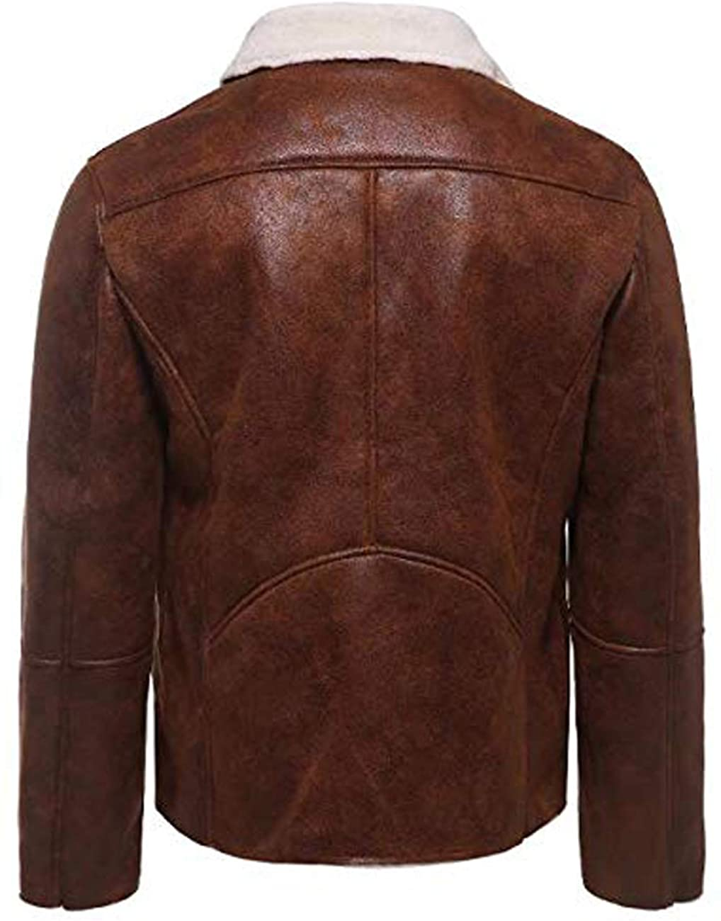 Men White Shearling FUR Genuine Sheepskin Leather Jacket With Stylish Zip In Brown