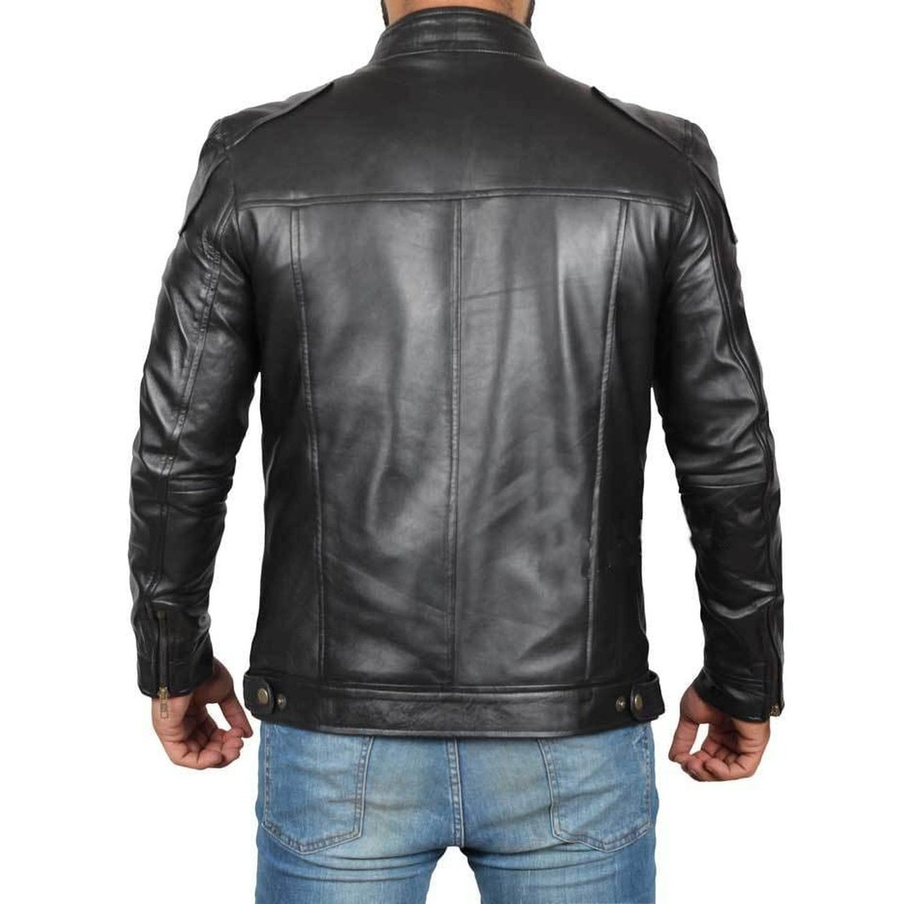 Fitted Black Leather Mens Jacket - Leather Jacket