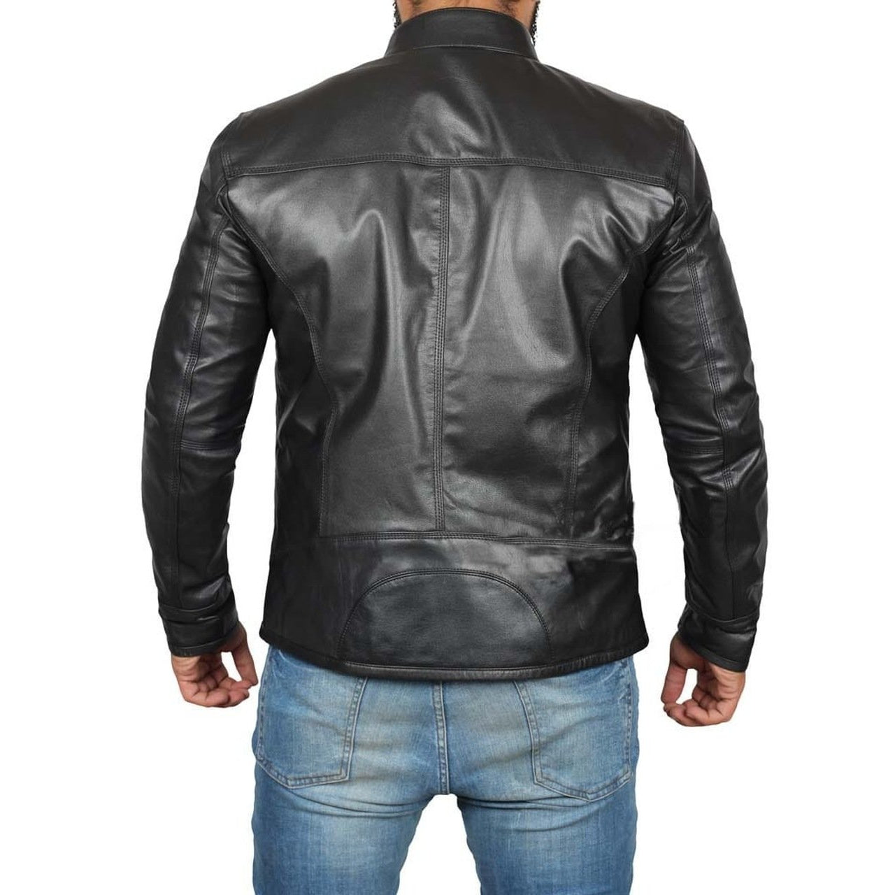Men Black Genuine Leather Jacket - Leather Jacket