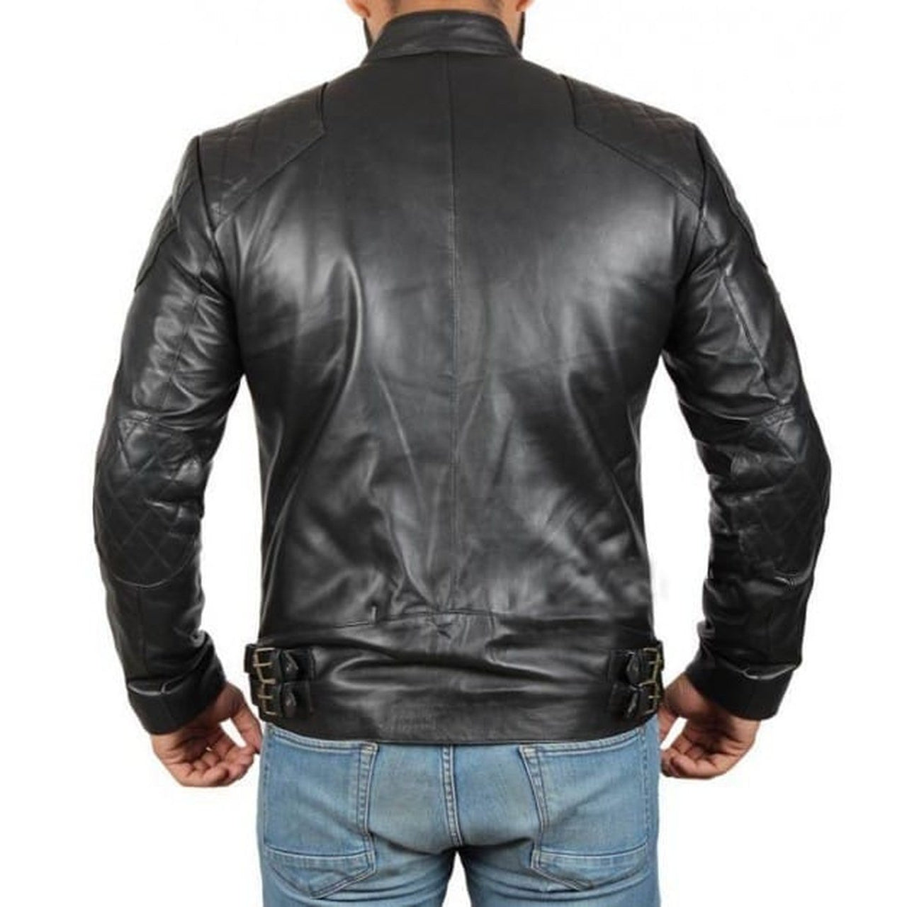 Black Quilted Retro Biker | Leather Jacket Mens - Leather Jacket
