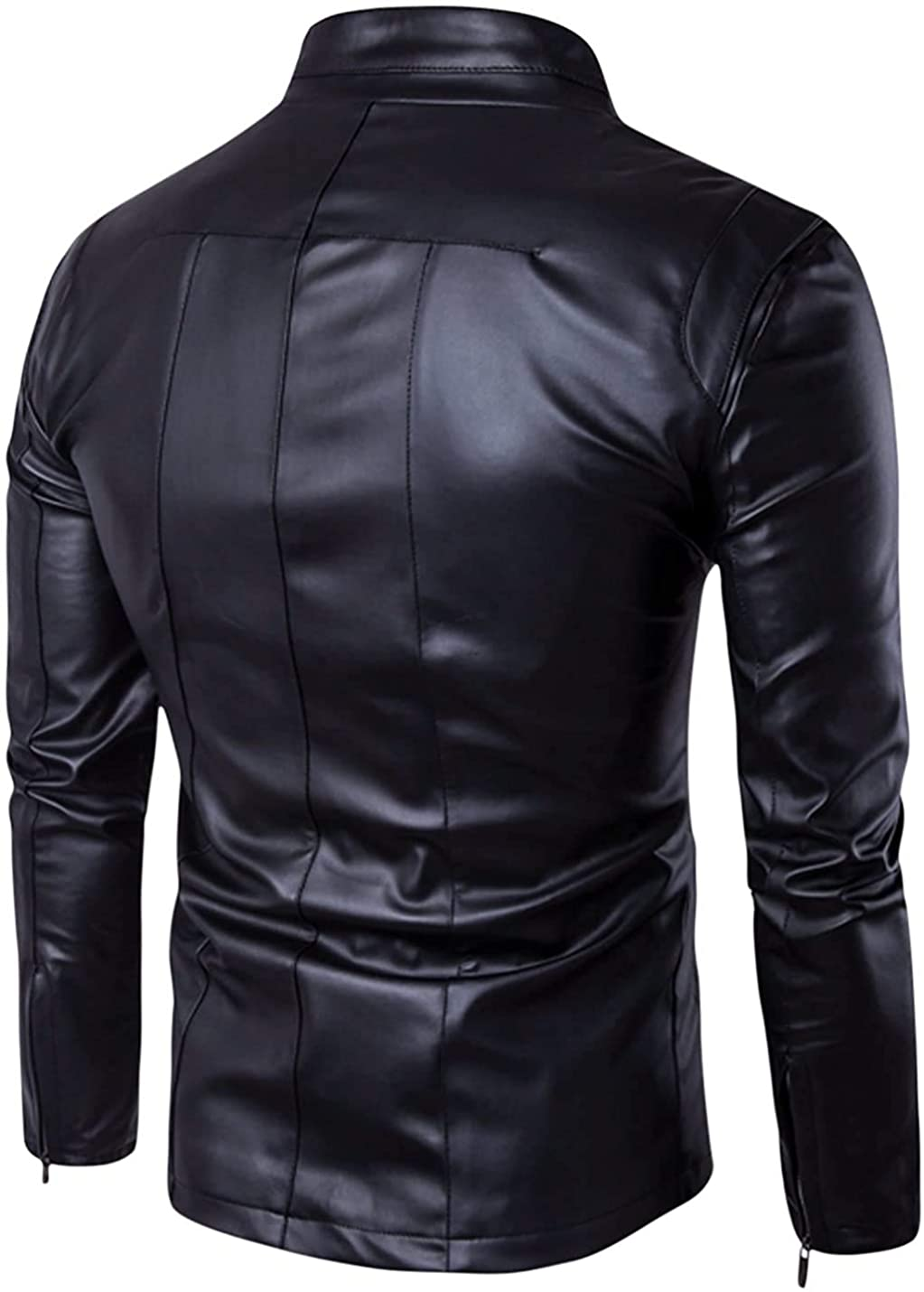 Mens Slim Fit Genuine Sheepskin Leather Jacket New Style In Black
