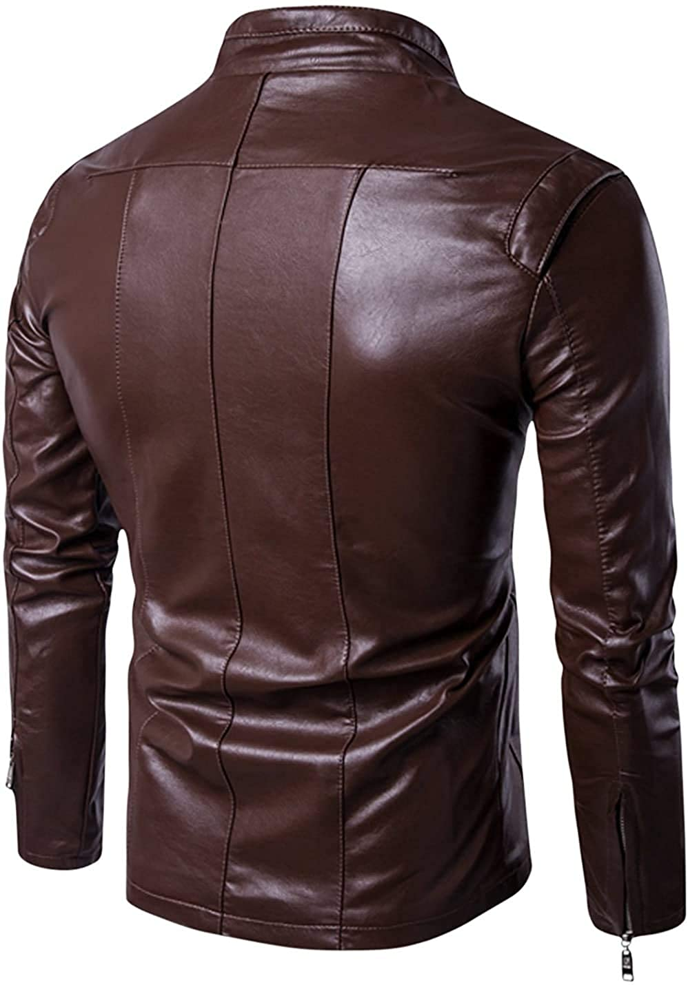 Mens Slim Fit Genuine Sheepskin Leather Jacket New Style In Coffee