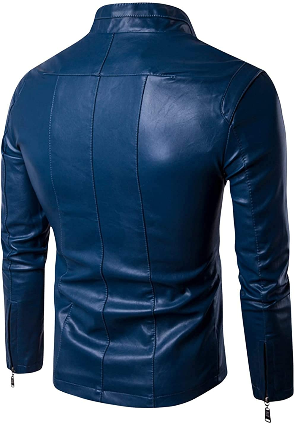 Mens Slim Fit Genuine Sheepskin Leather Jacket New Style In Sky Blue