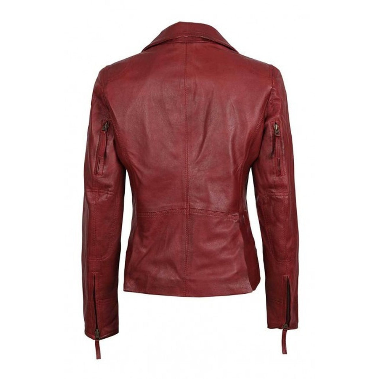 Red Asymmetrical Motorcycle Slim Fit Women leather jacket - Leather Jacket