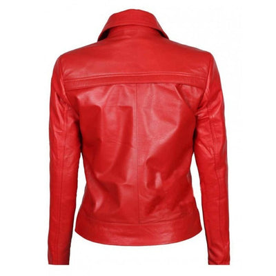 Red Zipper Biker Short Body Women Leather Jacket - Leather Jacket