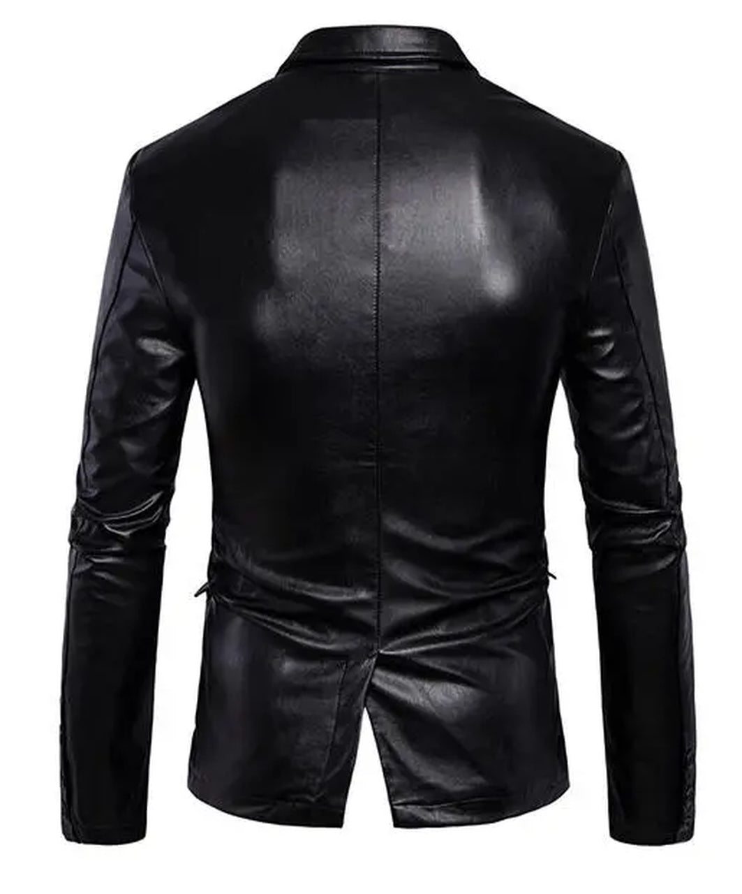 Slim Fit Fashion Men Lapel Collar Leather Jacket In Black