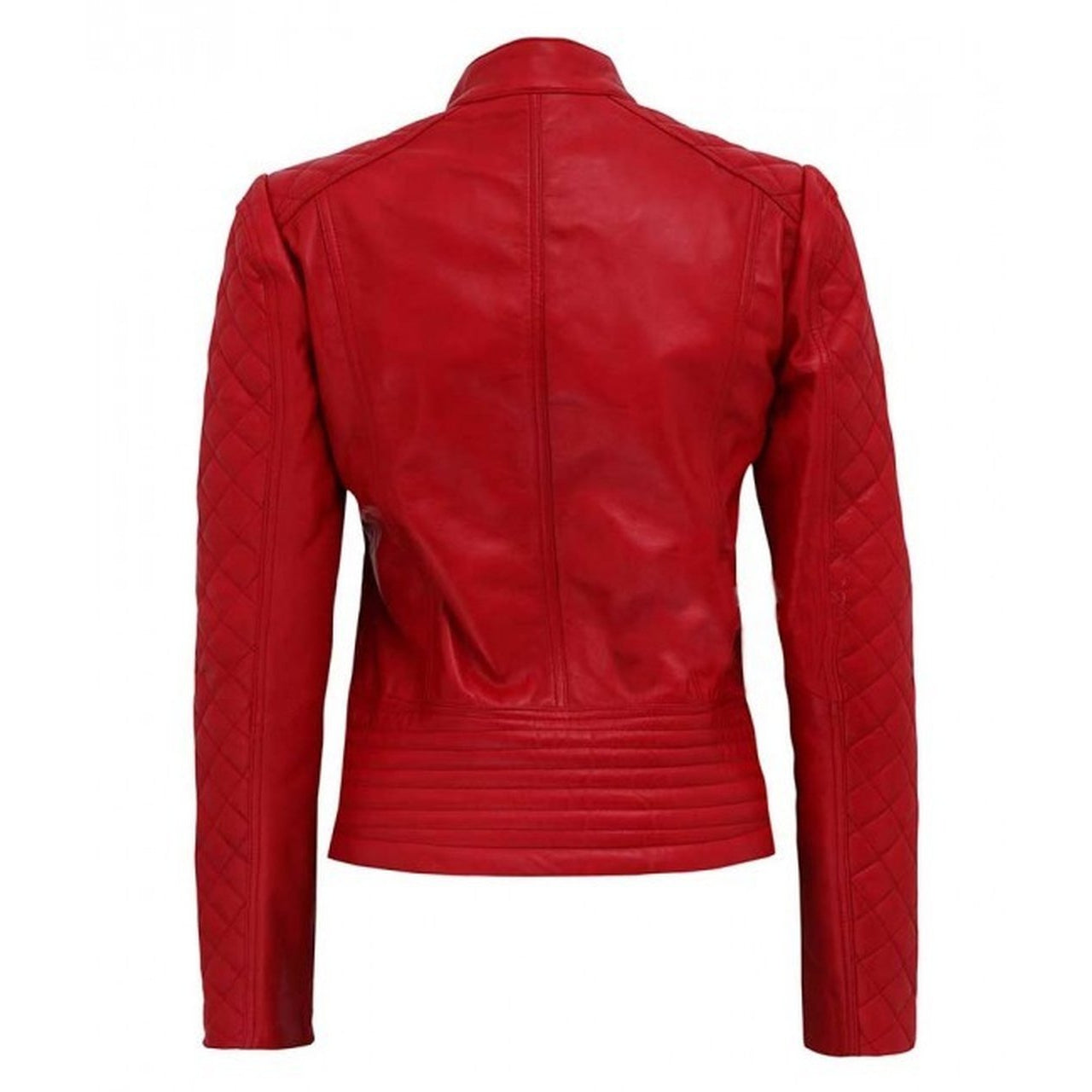 Women Red Quilted Cafe Racer - Women Leather Jacket - Leather Jacket