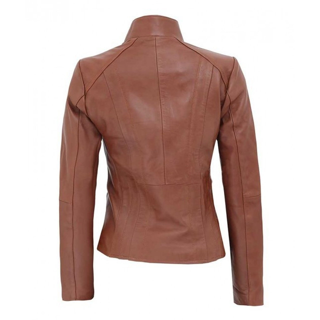Women Tan Asymmetrical Biker Leather Jacket - Leather Jacket