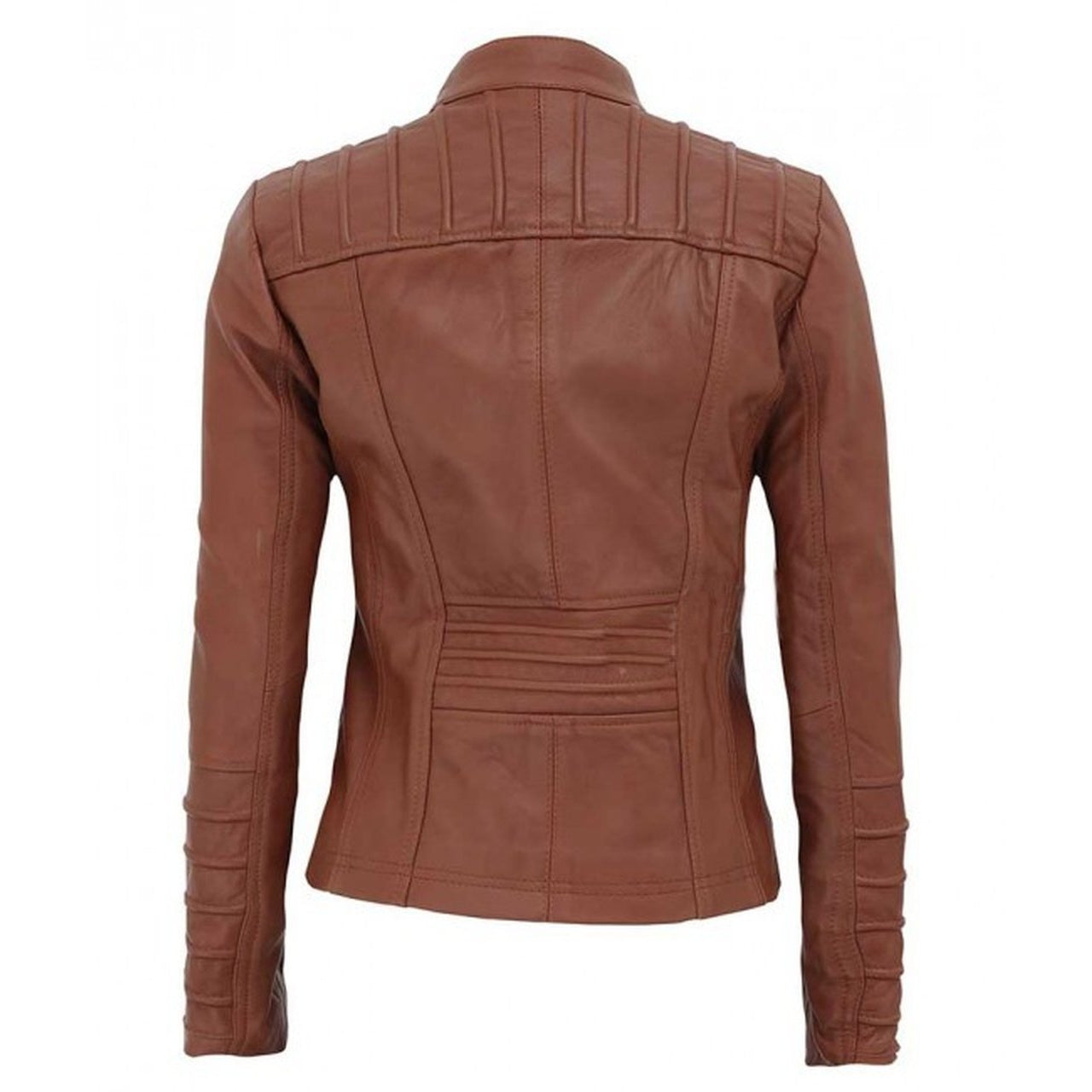Women Tan Quilted Leather Biker Jacket - Leather Jacket