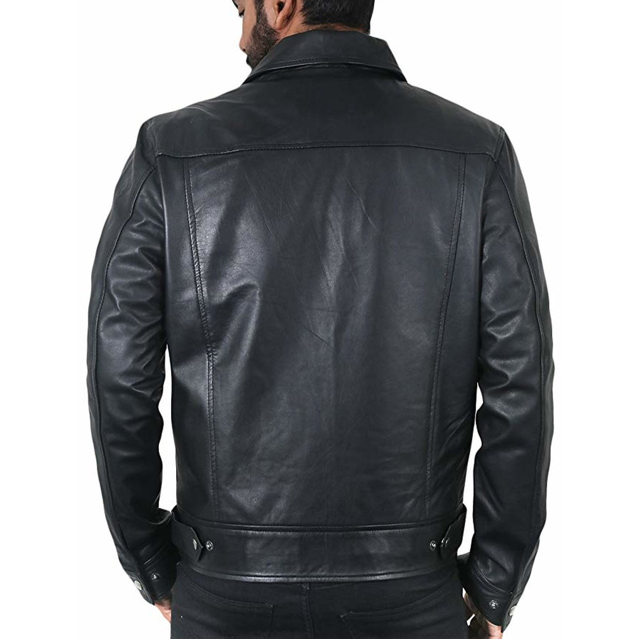 Casual Leather Jacket in Biker Style for Men - Leather Jacket