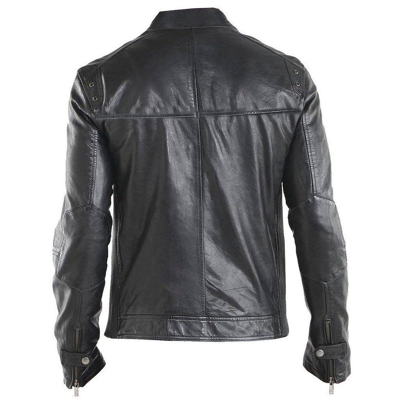Regular Fit Black Biker leather motorcycle jacket for Men - Leather Jacket