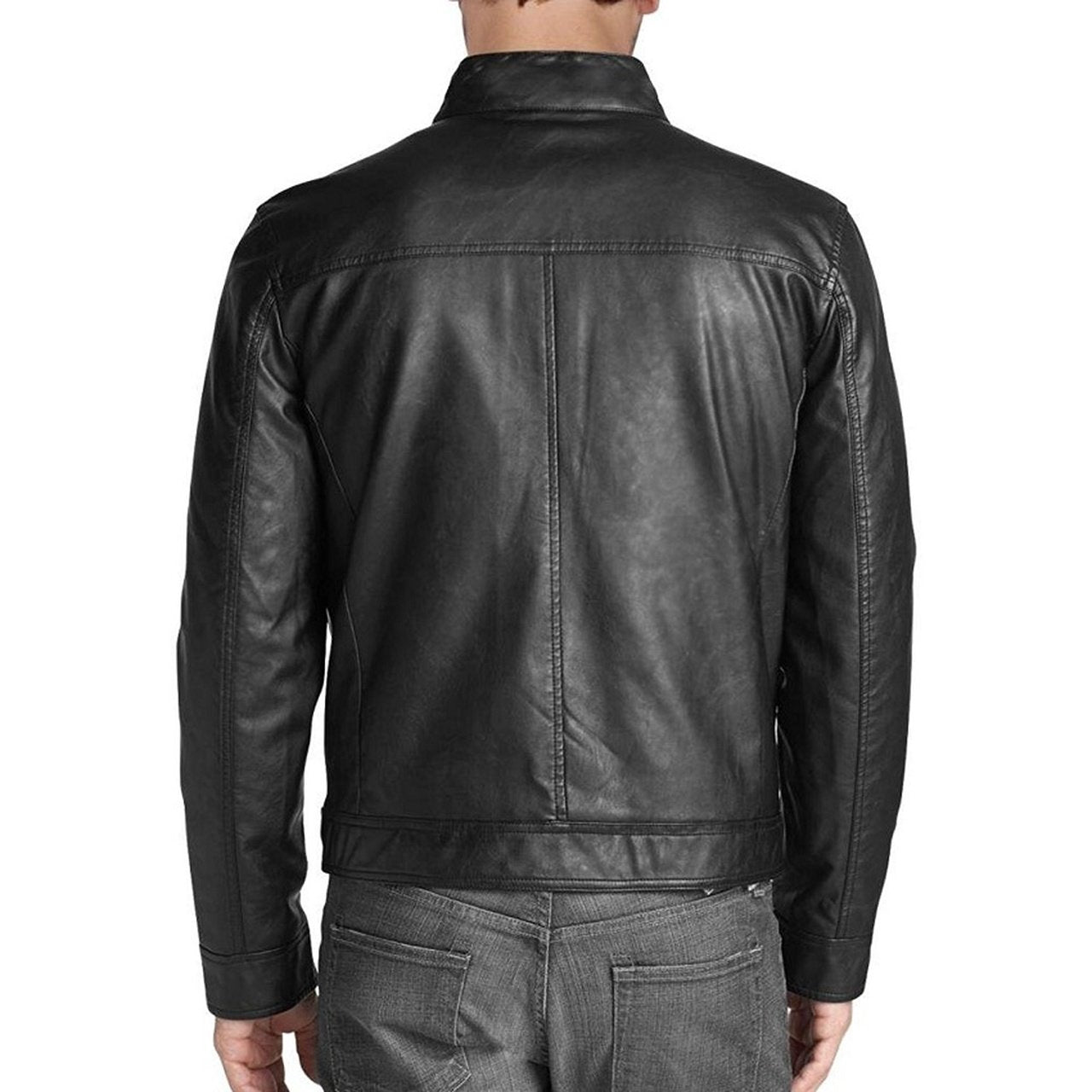 Retro Style Real Leather Jacket With Quilted Shoulders - Men jackets - Leather Jacket