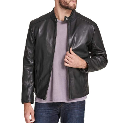 Regular Fit Black Leather Jacket for Men with Collar Button - Men jackets - Leather Jacket