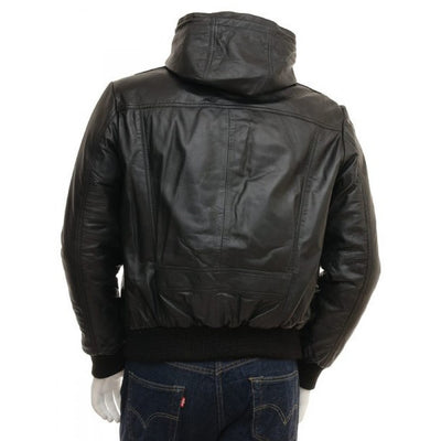 Men Genuine Leather Hooded Bomber Jacket - Leather Jacket