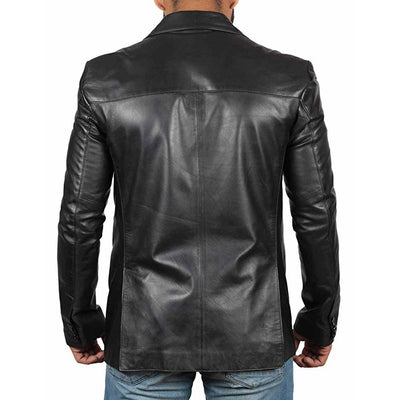 Coat Style Leather Jacket for Men - Leather Jacket
