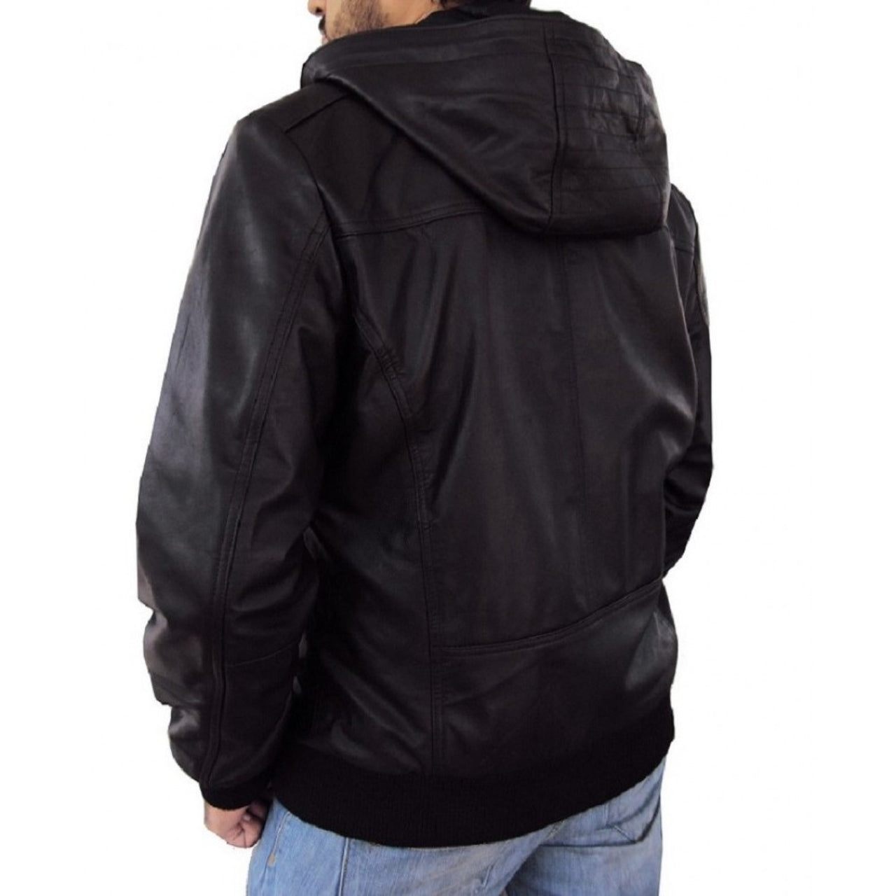 Solo Bomber Jacket With Fixed Hoodie in Black Color - Leather Jacket - Leather Jacket