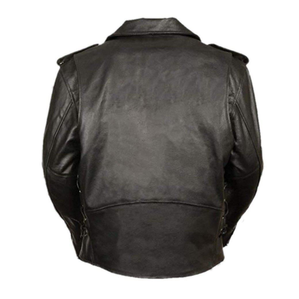 Basic Motorcycle Leather Jacket with Pockets - Leather Jacket