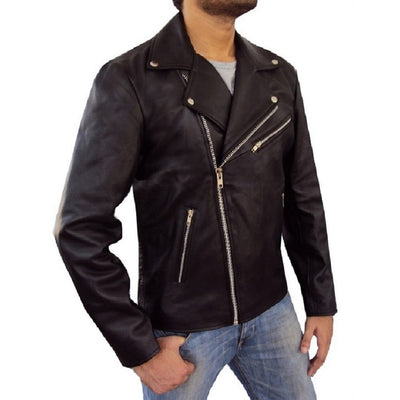 Stylish Leather Jacket for Men with Zipper Pockets - Leather Jacket - Leather Jacket