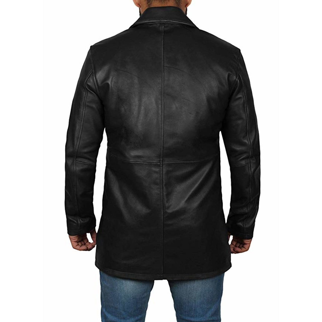 Coat Style Black Leather Jacket for Men - Leather Jacket