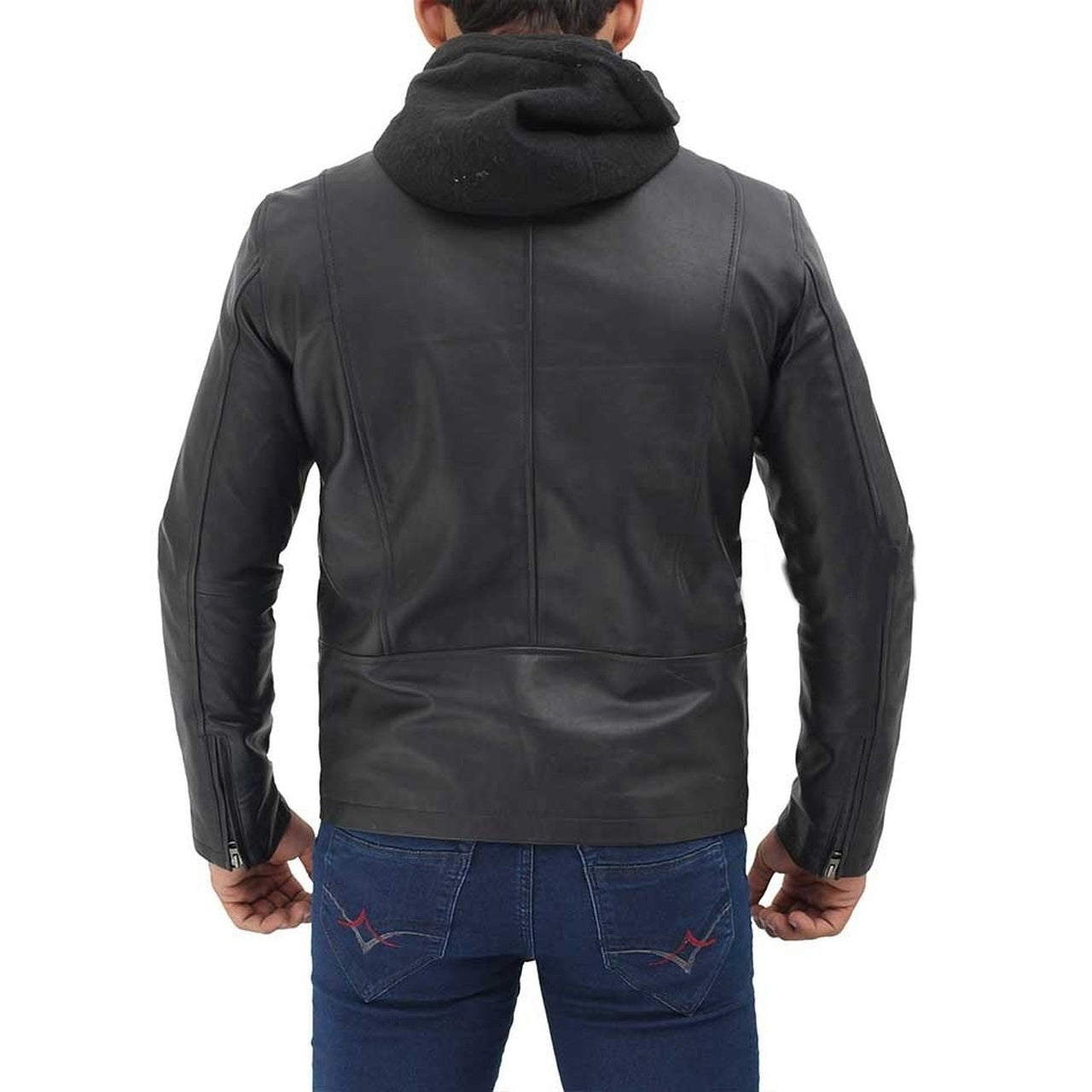 Black Bomber Hooded Leather Jacket - Leather Jacket
