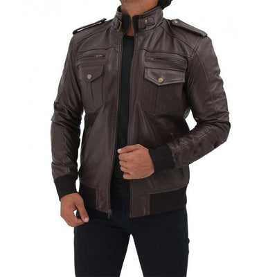Brown Bomber Biker Leather Mens Jacket - Leather Jacket