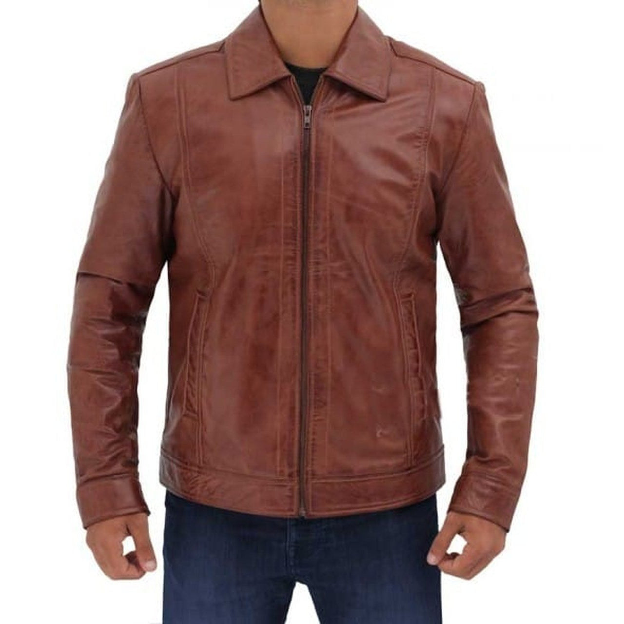 Brown Distressed Leather Jacket for Men - Leather Jacket