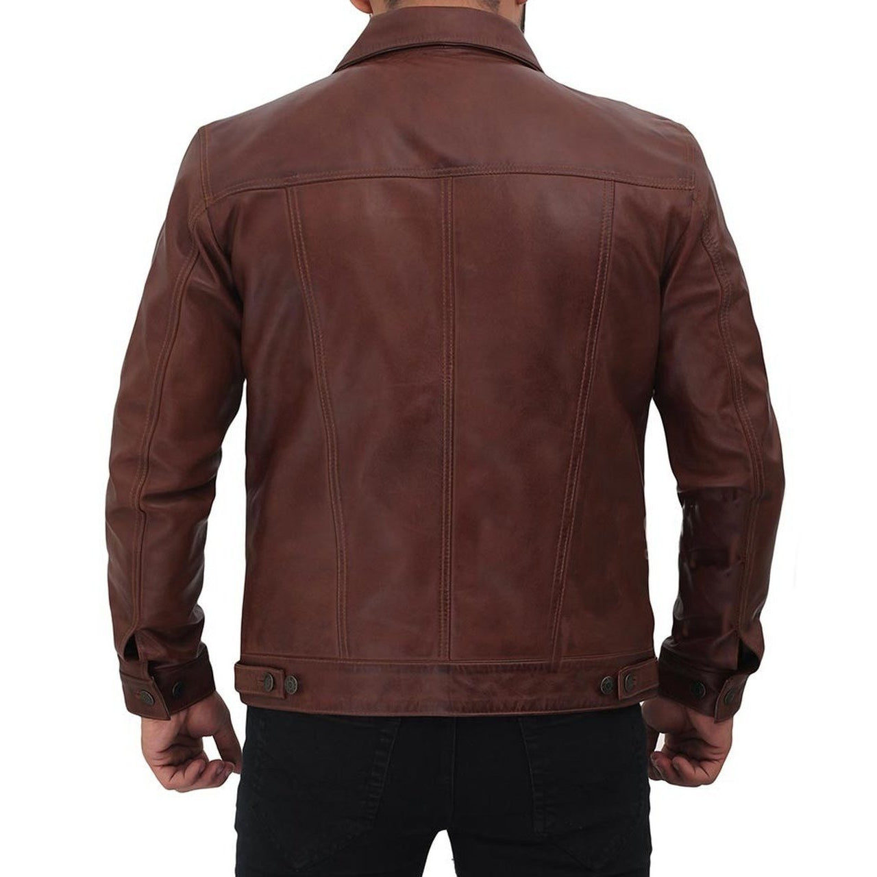 Brown Genuine Leather Trucker Jacket - Leather Jacket