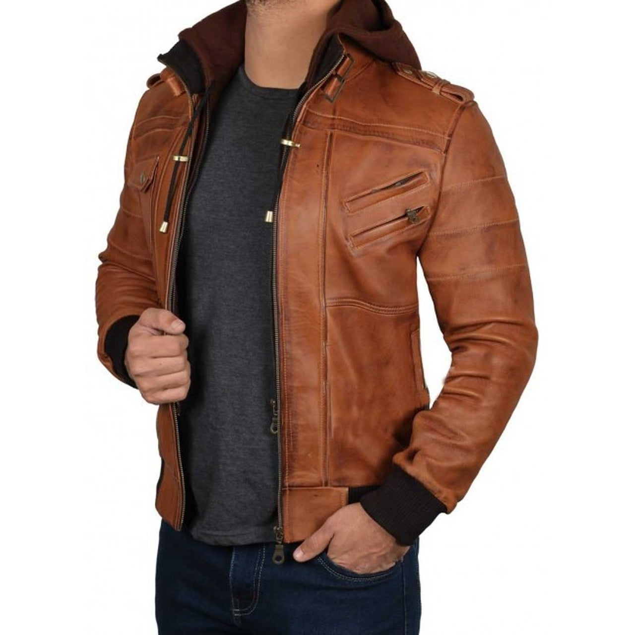 Brown Hooded Leather Jacket for Men - Leather Jacket