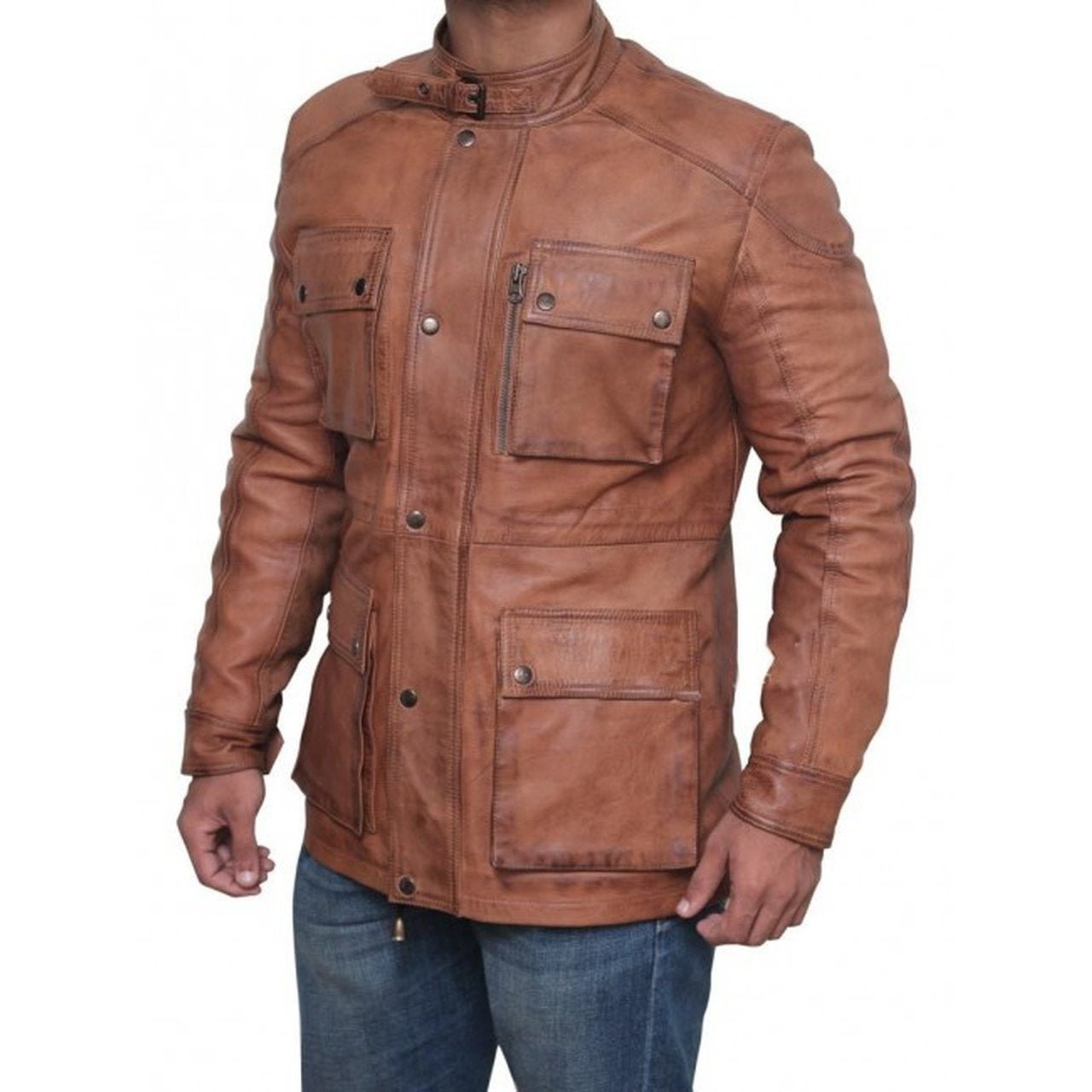 Chocolate Brown Panther Four Pocket Leather Jacket - Leather Jacket