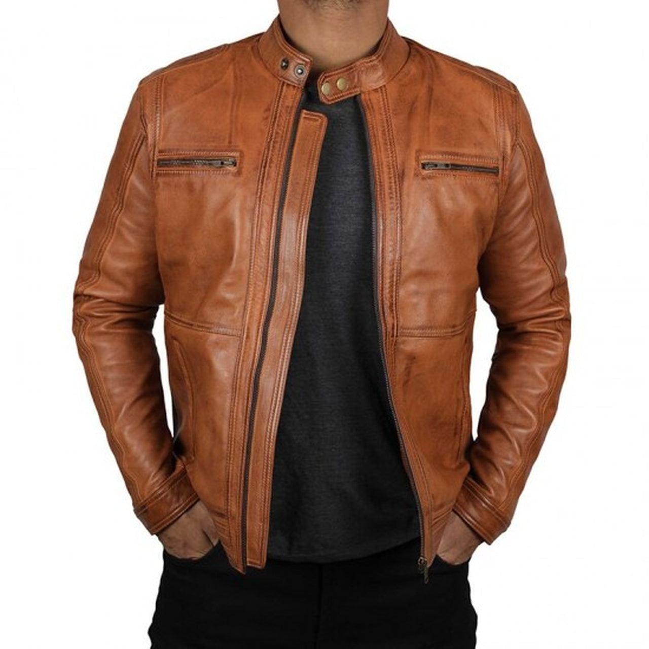 Classic Brown Leather Biker Jacket Men - Leather Jacket