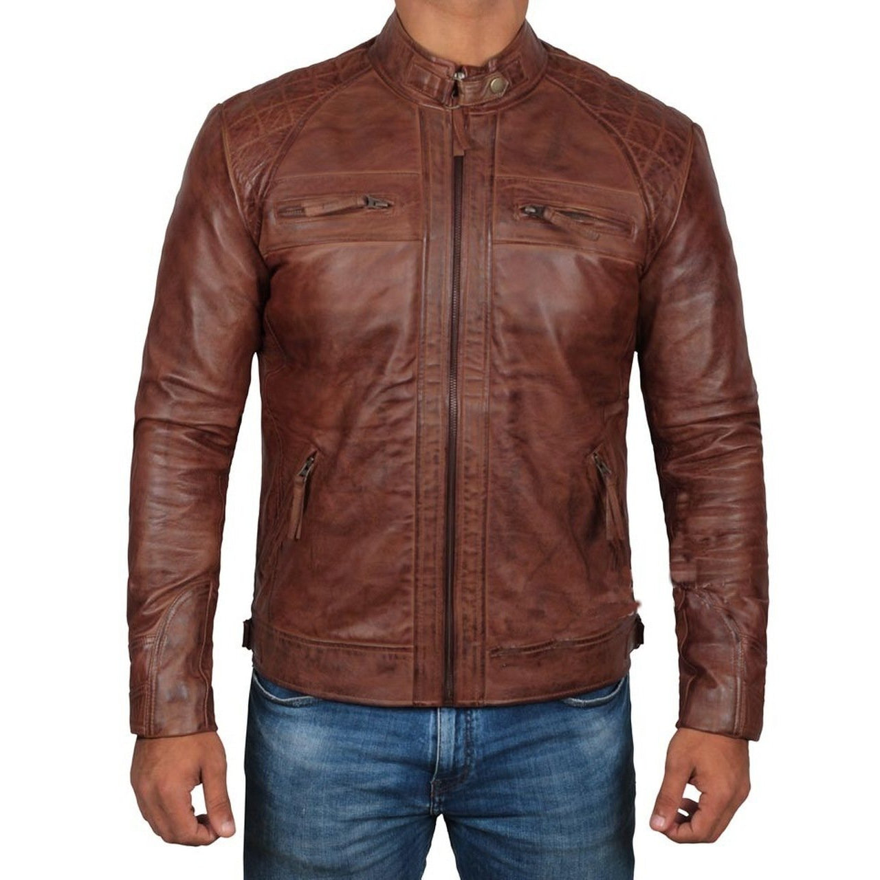 Dark Brown Quilted Fitted Premium Motorcycle Leather Jacket - Leather Jacket