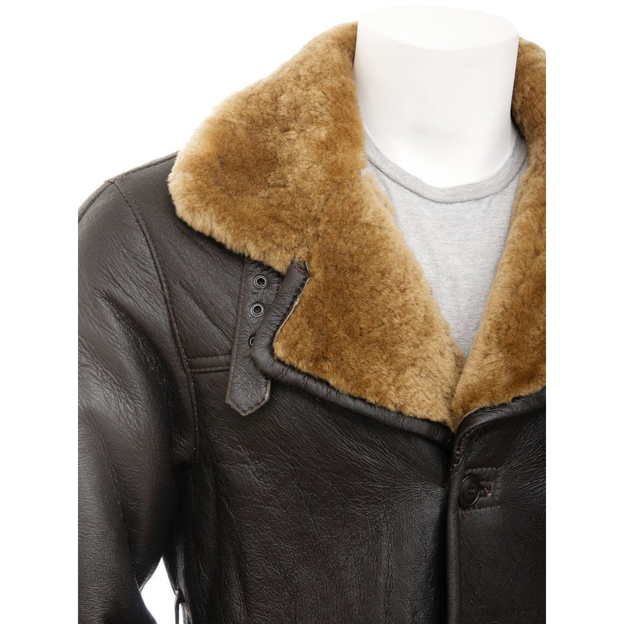 Dark Brown Shearling Leather Coat Men - Leather Jacket